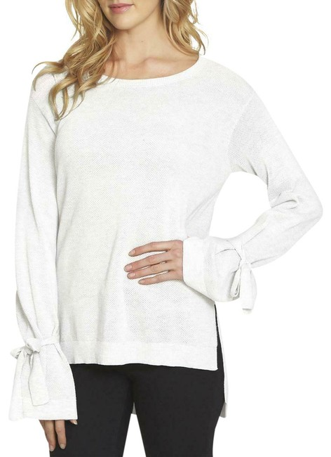 Item - Womens Jacquard Ribbed Trim Long Sleeves Crewneck Ivory Sweater