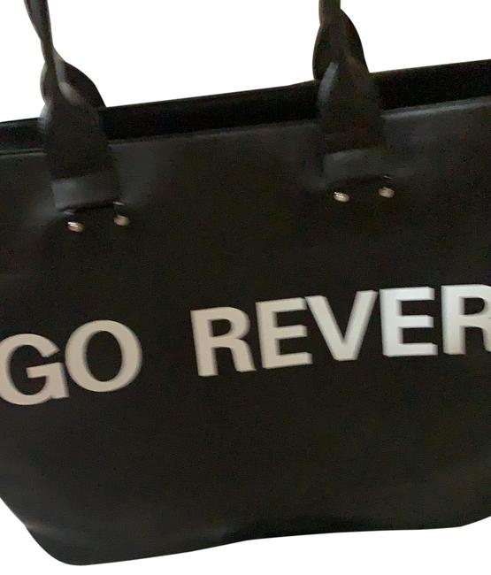 Item - Bag Reverse Black and White Leather Tote