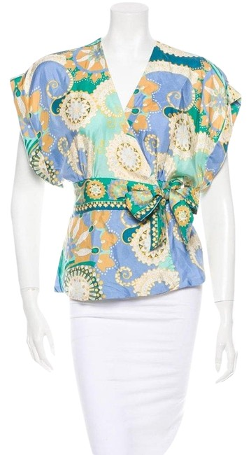 Preload https://img-static.tradesy.com/item/25193384/tibi-green-blue-yellow-printed-silk-blouse-size-4-s-0-1-650-650.jpg