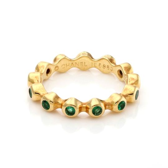 Chanel Emerald 18k Yellow Gold Stack Band Ring Image 0