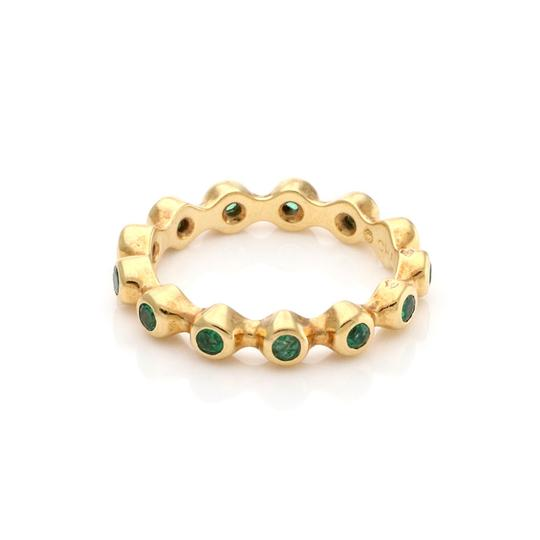 Chanel Emerald 18k Yellow Gold Stack Band Ring Image 1