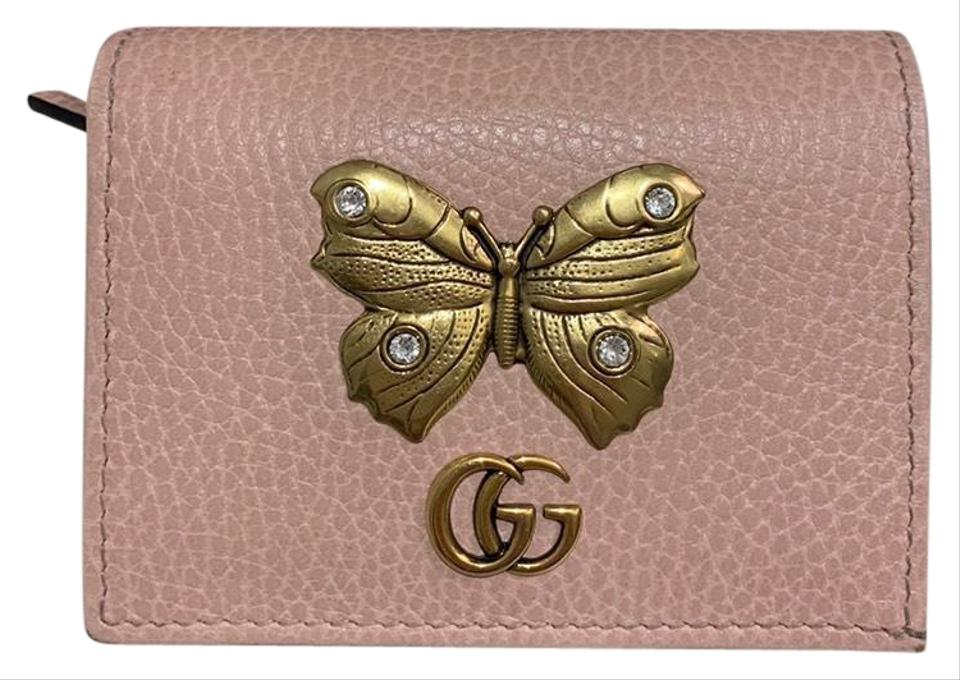 d6aca2280110ab Gucci Pink Marmont Gg Butterfly Bifold Leather Compact Wallet - Tradesy