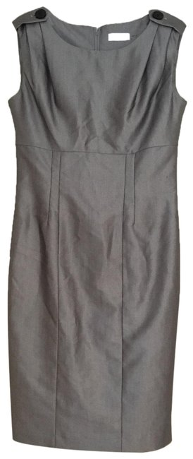 Item - Grey Silver Sheath Long Cocktail Dress Size 4 (S)