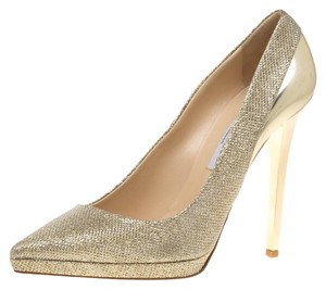 Jimmy Choo Pointed Toe Platform Leather Gold Pumps