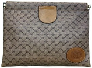 Gucci Gucci Beige Micro GG Coated Canvas Hinge Top Cosmetic Pouch SALE!