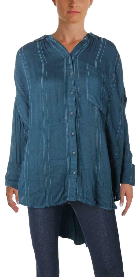f7afd84d Free People Blue Womens Striped Oversized Button-down Top Size 6 (S ...