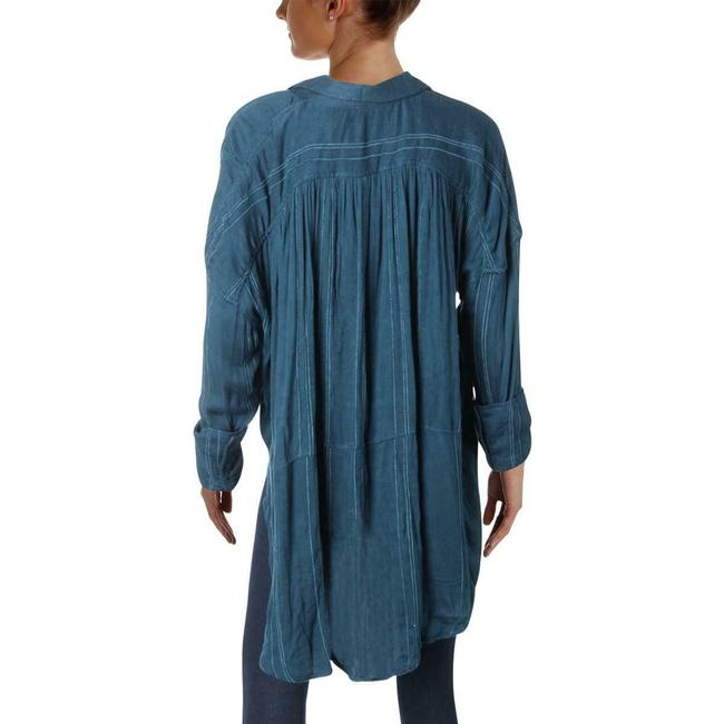 Free People Oversized Blouse Shirt Button Down Shirt Blue Image 1