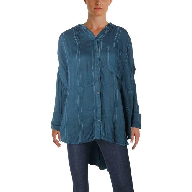 Free People Oversized Blouse Shirt Button Down Shirt Blue Image 2