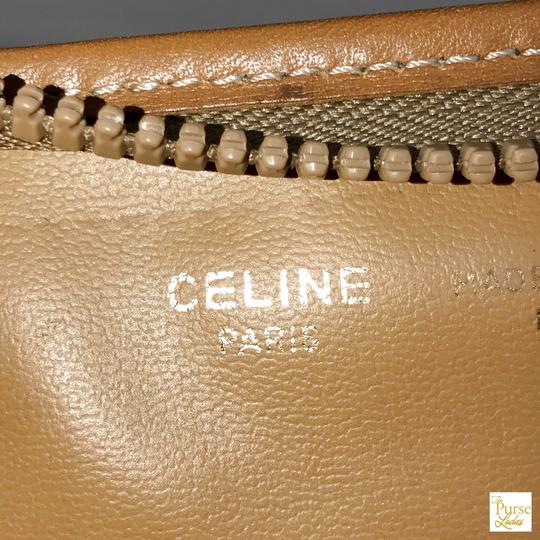 Céline Brown Macadam Cosmetic Case Bag Coated Canvas Zippered Tan Image 10