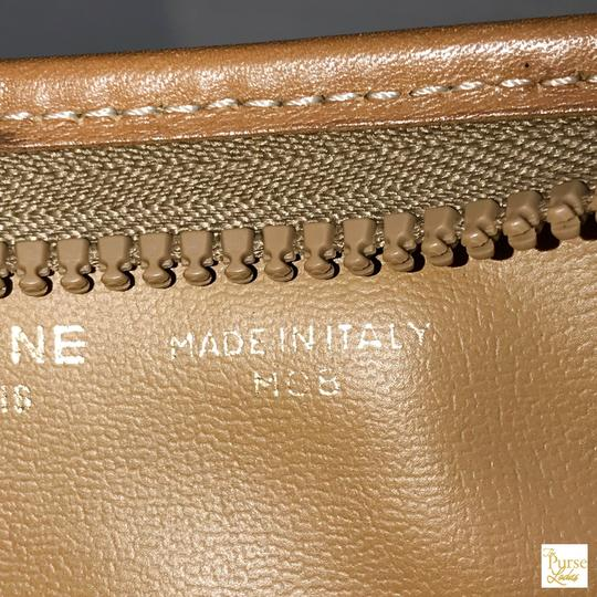 Céline Brown Macadam Cosmetic Case Bag Coated Canvas Zippered Tan Image 11