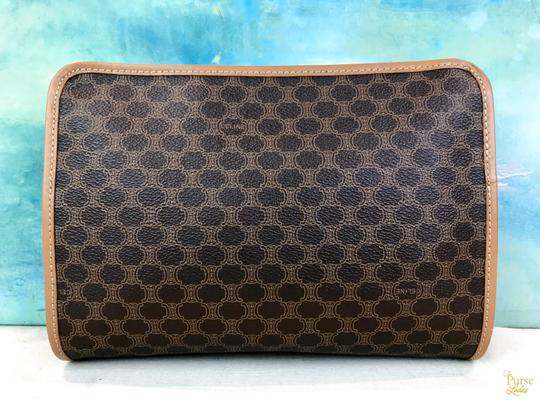 Céline Brown Macadam Cosmetic Case Bag Coated Canvas Zippered Tan Image 8