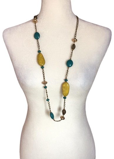 Preload https://img-static.tradesy.com/item/25193738/yellow-teal-long-stone-necklace-0-1-540-540.jpg