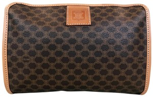 Céline Celine Brown Macadam Print Coated Canvas Cosmetic Pouch Make Up Bag