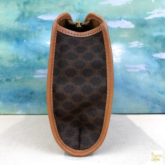 Céline Celine Brown Macadam Print Coated Canvas Cosmetic Pouch Make Up Bag Image 1