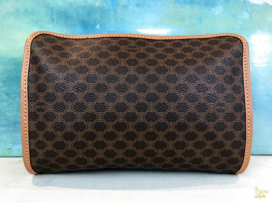 Céline Celine Brown Macadam Print Coated Canvas Cosmetic Pouch Make Up Bag Image 2