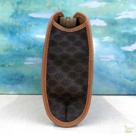 Céline Celine Brown Macadam Print Coated Canvas Cosmetic Pouch Make Up Bag Image 3