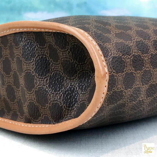 Céline Celine Brown Macadam Print Coated Canvas Cosmetic Pouch Make Up Bag Image 5