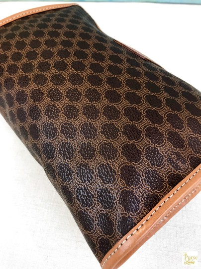 Céline Celine Brown Macadam Print Coated Canvas Cosmetic Pouch Make Up Bag Image 8
