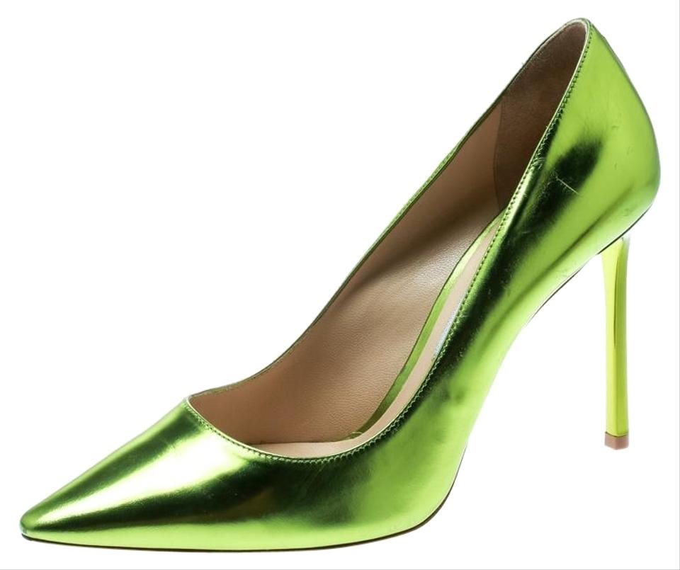 2d03ad5a8a Jimmy Choo Green Metallic Apple Leather Romy Pointed Pumps Size EU ...