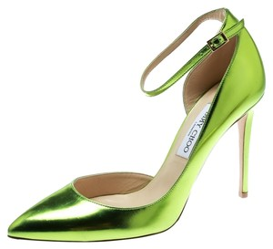 644d32a2477 Jimmy Choo Metallic Leather Pointed Toe Ankle Strap Green Pumps