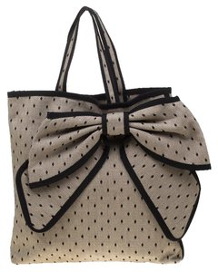 RED Valentino Canvas Lace Tote in Beige