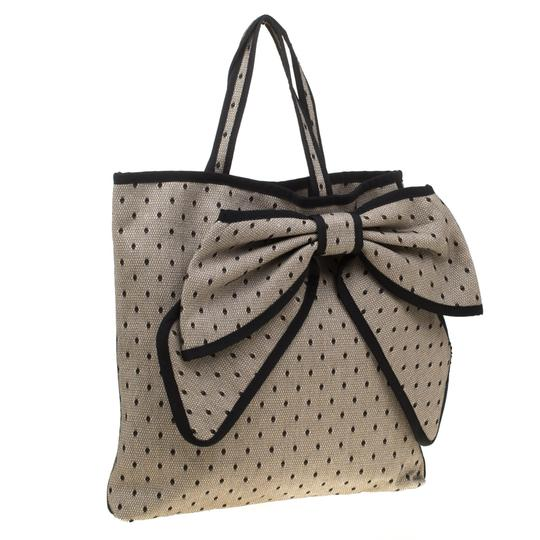 RED Valentino Canvas Lace Tote in Beige Image 6