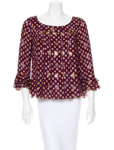 Anna Sui Top Burgundy, Gold