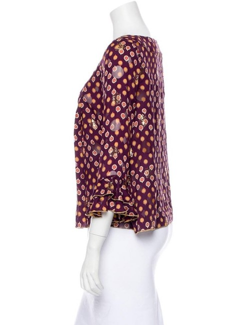 Anna Sui Top Burgundy, Gold Image 1