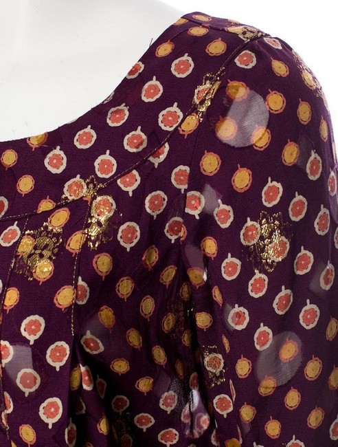 Anna Sui Top Burgundy, Gold Image 3
