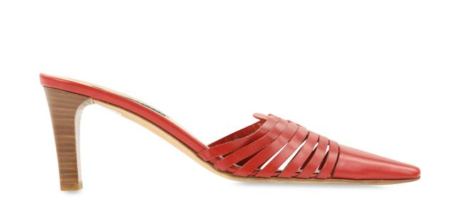Item - Red Woven Leather Mule Pumps Size US 7.5 Regular (M, B)