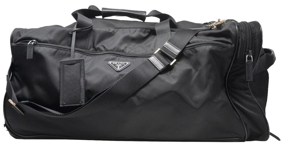 Prada Duffle Wheeled Carry On Black Nylon Weekend Travel Bag 62 Off Retail