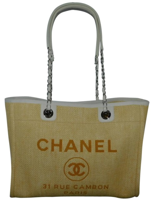 Item - Deauville Grand Shopping A67001 Yellow/Gold Canvas Tote