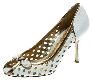 Dolce&Gabbana Perforated Leather Detail Peep Toe White Pumps