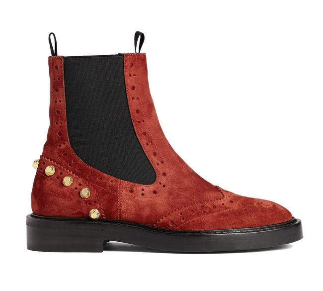Item - Red Suede Wing Tip Chelsea Gold Studded Stud Ankle Boots/Booties Size US 7 Regular (M, B)