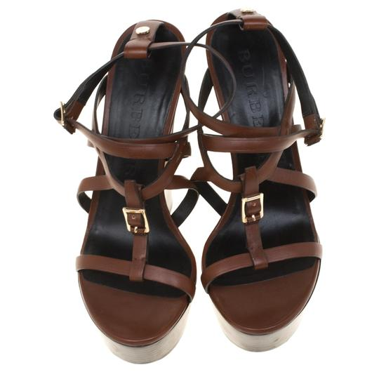 Burberry Leather Platform Ankle Strap Wedge Brown Sandals Image 1