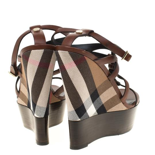 Burberry Leather Platform Ankle Strap Wedge Brown Sandals Image 2