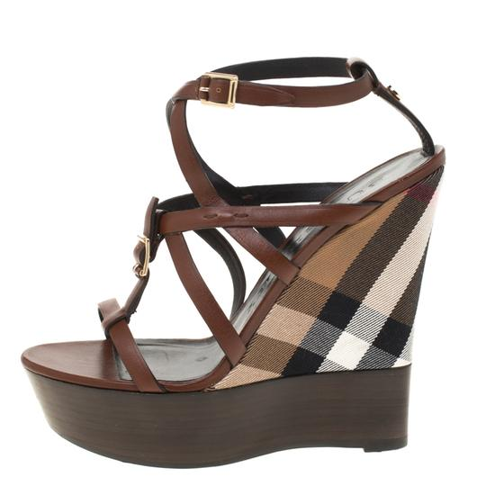Burberry Leather Platform Ankle Strap Wedge Brown Sandals Image 4