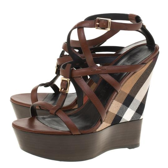 Burberry Leather Platform Ankle Strap Wedge Brown Sandals Image 5