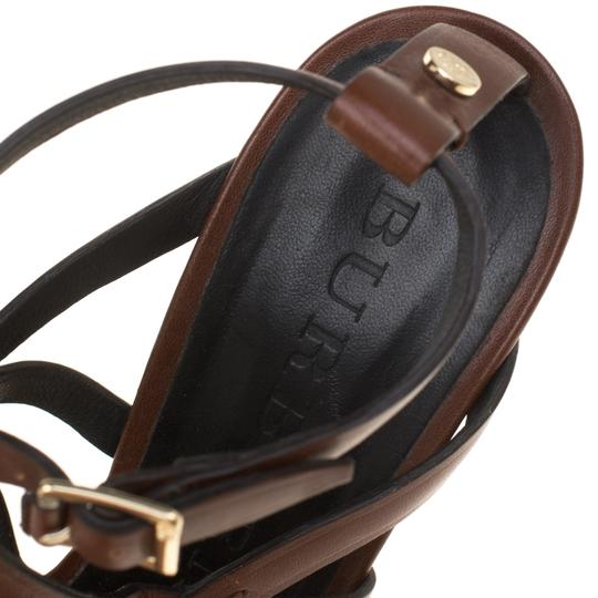 Burberry Leather Platform Ankle Strap Wedge Brown Sandals Image 6