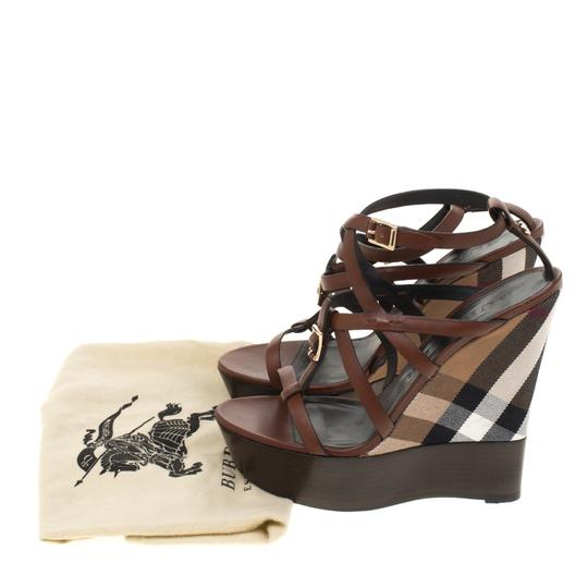 Burberry Leather Platform Ankle Strap Wedge Brown Sandals Image 7