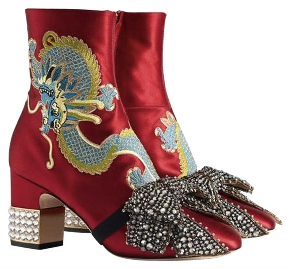 8fc5a3f34b4 Gucci Candy Embroidered Dragon Satin Ankle Boots Booties Boots ...