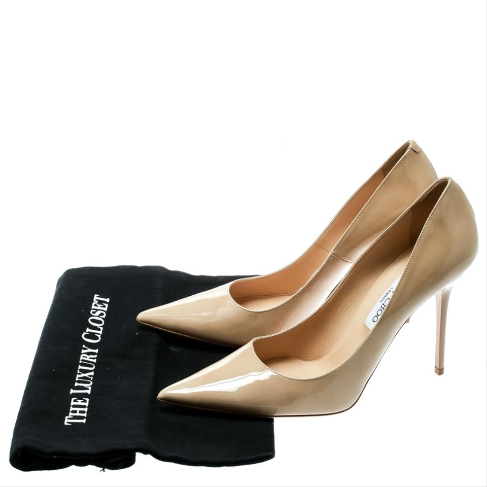 ffca435a31e Jimmy Choo Patent Leather Pointed Toe Beige Pumps Image 7. 12345678