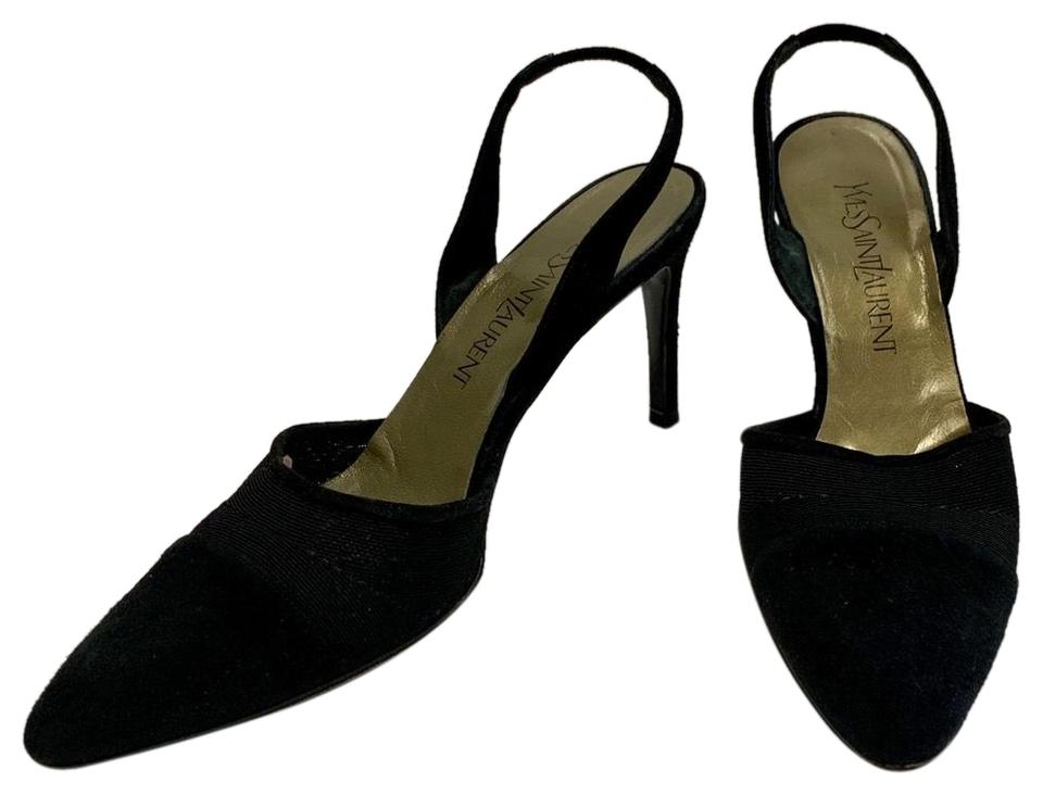50d386e41 Saint Laurent Black Suede Slingback Heels Pumps Size US 8 Regular (M ...