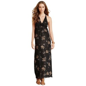 Black Maxi Dress by What Goes Around Comes Around Silk Lined Print Sleeveless Elastic