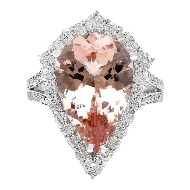 Fashion Strada Peach 7.49 Carat Natural Morganite 14k Solid White Gold Diamond Ring Fashion Strada Peach 7.49 Carat Natural Morganite 14k Solid White Gold Diamond Ring Image 1