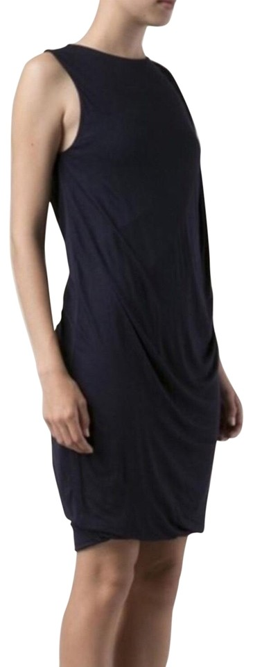 bdb93283560e0 Vince Navy Fitted Front Drape Jersey Short Casual Dress Size 2 (XS ...