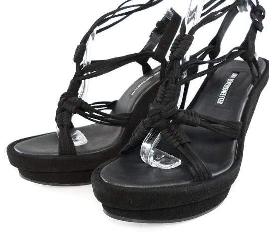 Ann Demeulemeester Platform Strappy Suede Ankle Wrap Black Wedges Image 5