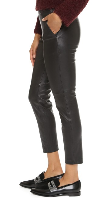 Theory Leather Work Casual Party Night Out Skinny Pants Black Image 1