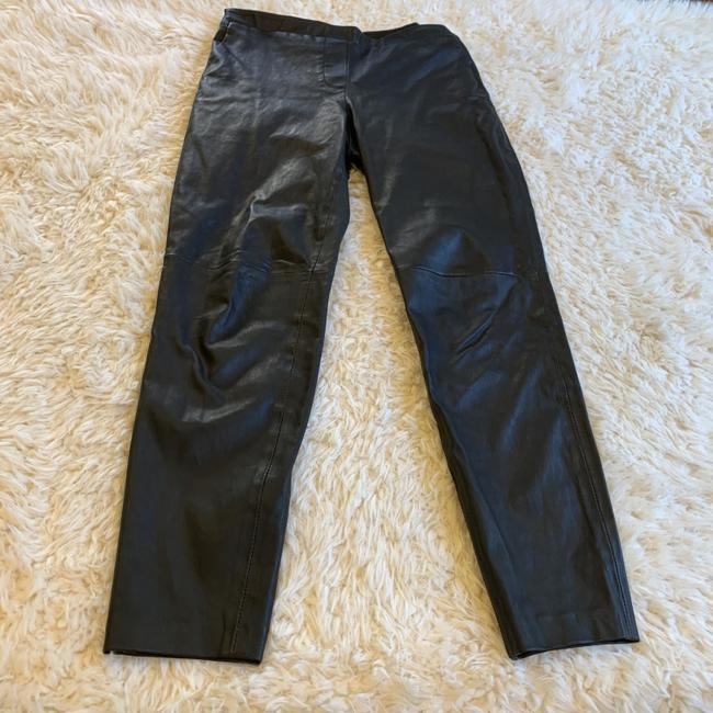 Theory Leather Work Casual Party Night Out Skinny Pants Black Image 3