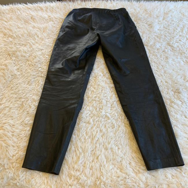 Theory Leather Work Casual Party Night Out Skinny Pants Black Image 6
